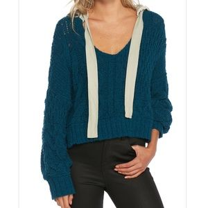 Free people cable knit hoodie